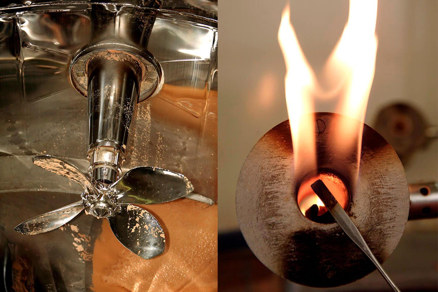 Herstellung Regenerat Papier - Mischbehälter Propeller + Material Prüfung