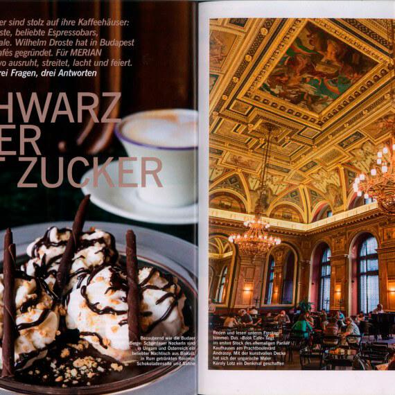 Merian Magazin Budapest, Reportage Kaffeehäuser