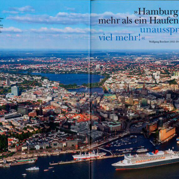 Merian Magazin Hamburg, Queen Mary Luftaufnahme